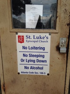 Church no loitering sign